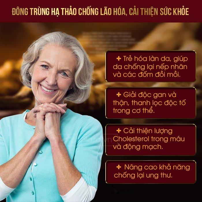 Sử dụng đông trùng hạ thảo giúp chống lão hóa, cải thiện sức khỏe