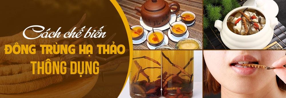 cách dùng đông trùng hãm trà, ngâm rượu, ăn trực tiếp, chế biến thành món ăn.